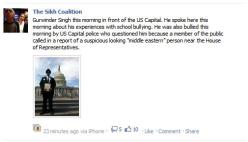"""Gurwinder Singh this morning in front of the US Capital. He spoke here this morning about his experiences with school bullying. He was also bullied this morning by US Capital police who questioned him because a member of the public called in a report of a suspicious looking """"middle eastern"""" person near the House of Representatives."""