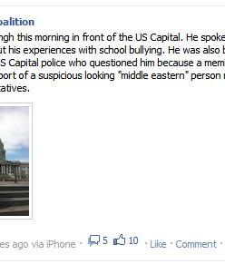 "Gurwinder Singh this morning in front of the US Capital. He spoke here this morning about his experiences with school bullying. He was also bullied this morning by US Capital police who questioned him because a member of the public called in a report of a suspicious looking ""middle eastern"" person near the House of Representatives."