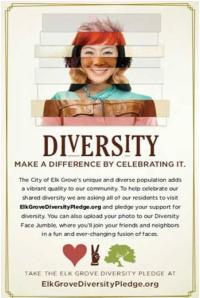 Elk Grove, California Diversity Pledge ad (source: elkgrovecity.org)