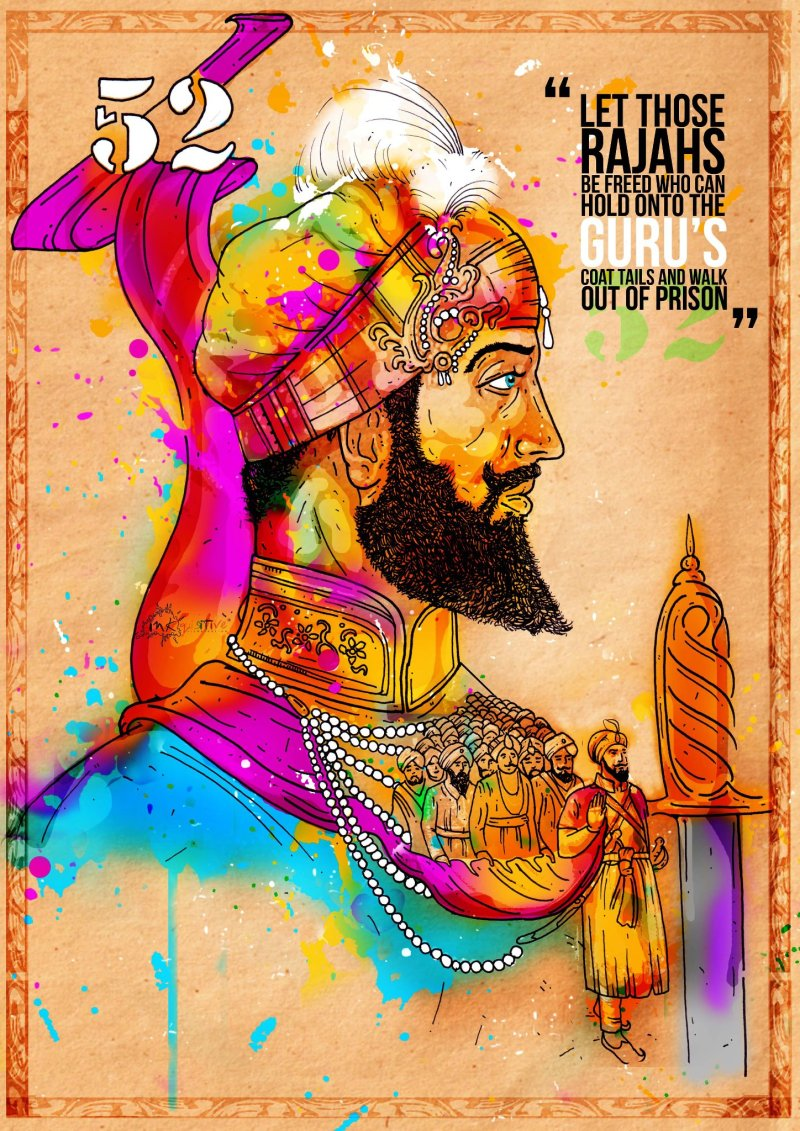 Guru Hargobind & Bandi Chorh Divas (photo & artwork: Inkquisitive Illustration)