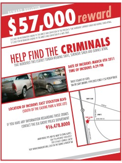Reward Bulletin seeking tips and assistance for the investigation into the murders of Surinder Singh and Gurmej Atwal