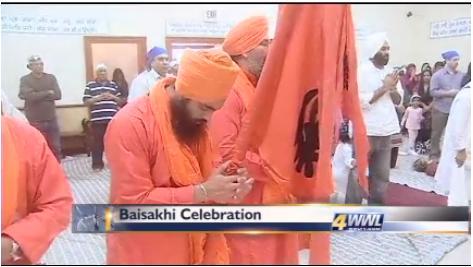 Members of the local New Orleans Sikh community held the annual Baisakhi celebration Sunday (screenshot: wwltv.com)