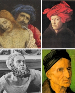 """""""Clockwise from top left: Filippino Lippi, The Dead Christ Mourned by Nicodemus and Two Angels, detail; Jan van Eyck, Self-portrait or Man in a Red Turban (1433); Dürer, Portrait of Michael Wolmegut (1516); Adam Kraft, Self-portrait detail from the Eucharistic Tabernacle (1493-6) in St. Lorenz, Nuremberg."""" (Source: Every Painter Paints Himself)"""