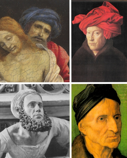 """Clockwise from top left: Filippino Lippi, The Dead Christ Mourned by Nicodemus and Two Angels, detail; Jan van Eyck, Self-portrait or Man in a Red Turban (1433); Dürer, Portrait of Michael Wolmegut (1516); Adam Kraft, Self-portrait detail from the Eucharistic Tabernacle (1493-6) in St. Lorenz, Nuremberg."" (Source: Every Painter Paints Himself)"