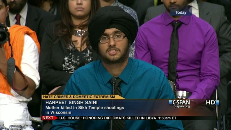 Harpeet Singh Saini testifies at a US Senate hearing about the mass shooting that took his mother during the 2012 Oak Creek Gurdwara mass shooting in Wisconsin. Photo: C-SPAN