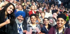 Jusleen Kaur with Sikh delegates at DNC