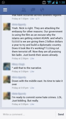 A recent Facebook conversation in which a man jokes about using hate crimes to respond to violence in the Middle East.