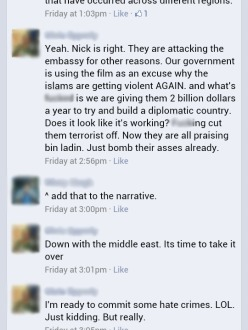 A recent Facebook conversation joking about using hate crimes as a response to violence in the Middle East.