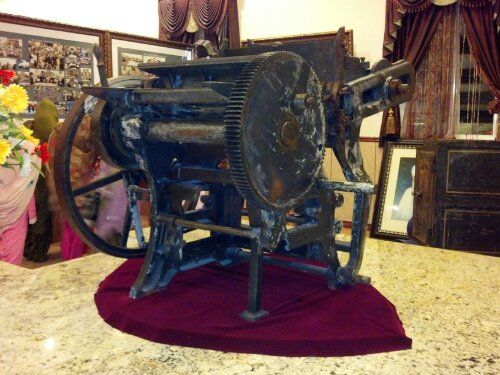 "The printing press used by the US-based Ghadar Party in 1913 in Stockton, California, used to print ""The Ghadar"", a publication promoting the freedom of India from British rule."