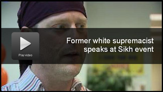 """Former white supremacist speaks at Sikh event"" (source: Fox6Now)"