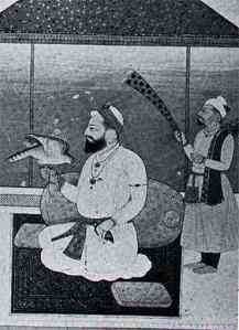 """Guru Hargobind - a painting from the Lahore Museum (courtesey F.Aijazzudin)"" (source: sikh-heritage.co.uk)"