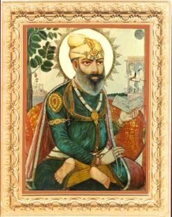 Painting of Guru Tegh Bahadur (source: SriGuruGranthSahib.org)