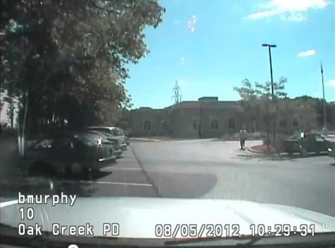 Still from Lt. Brian Murphy's Dash Cam video showing the mass murderer during his attack on the Gurdwara in Oak Creek, Wisconsin last August.
