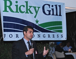 Ricky Gill makes a speech during his campaign to represent California's 9th Congressional District in Congress(source: IndiaWest)