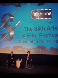 Gurmeet Sodhi (left) interviews Dr. I.J. Singh (right) on stage at the SikhLens Sikh Arts and Film Festival.