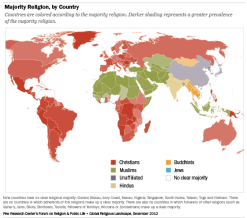 Majority religion, by country (source: Pew Forum)