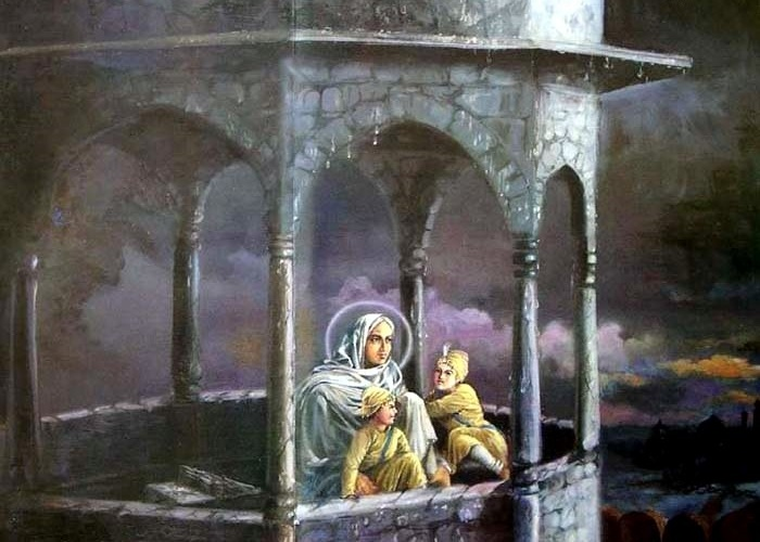 The mother of Guru Gobind Singh, Mata Gujri, imprisoned in an open tower with his two younger sons, Sahibzada Zorawar Singh and Sahibzada Fateh Singh in 1705. (source: Sikh Gurus and Sikh Gurdwaras)