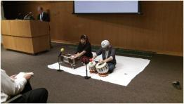 Hardeep (left) and Simran Darar (right) perform kirtan at the Sikh Education and Awareness Conference in Fort Wayne, Indiana, earlier this month. Photo by Lori Way.