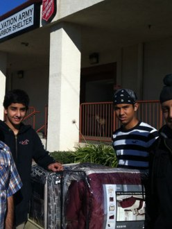 Lodi Sikhs collect blankets for homeless. Chiranjeev Singh Mangat, Paramveer Dhatt, Raunak Singh and Vikram Singh. (source: Lodi News-Sentinel)