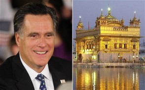 Republican presidential hopeful Mitt Romney and the Golden Temple in Amritsar. (source: The Telegraph)
