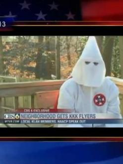 On the Colbert Report, Stephen Colbert discusses the increase in recruitment activity by the Ku Klux Klan (source: Comedy Central).