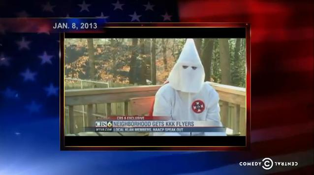 On the January 30, 2013 broadcast of the <em>Colbert Report</em>, Stephen Colbert discusses the increase in recruitment activity by the Ku Klux Klan (source: Comedy Central).
