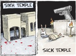 """Political cartoon commenting on the """"religion"""" of gun ownership."""