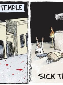 "Political cartoon commenting on the ""religion"" of gun ownership."
