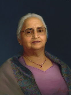 Portrait of Kuldip Kaur Bindra by artist Manu Saluja