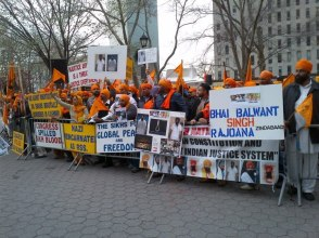Sikhs in New York rally for Bhai Balwant Singh Rajoana. (source: Sikh24)