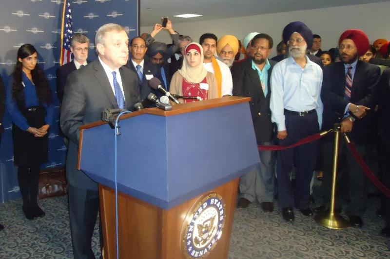 Senator Dick Durbin speaks at a press conference alongside representatives of a variety of groups at the Senate hearing on hate crimes and domestic terrorism last September (photo credit: Dosti.com)