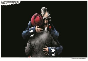 Editorial cartoon: Uncle Sam embraces a Sikh c. 2012 (source: Caffeinated Politics)