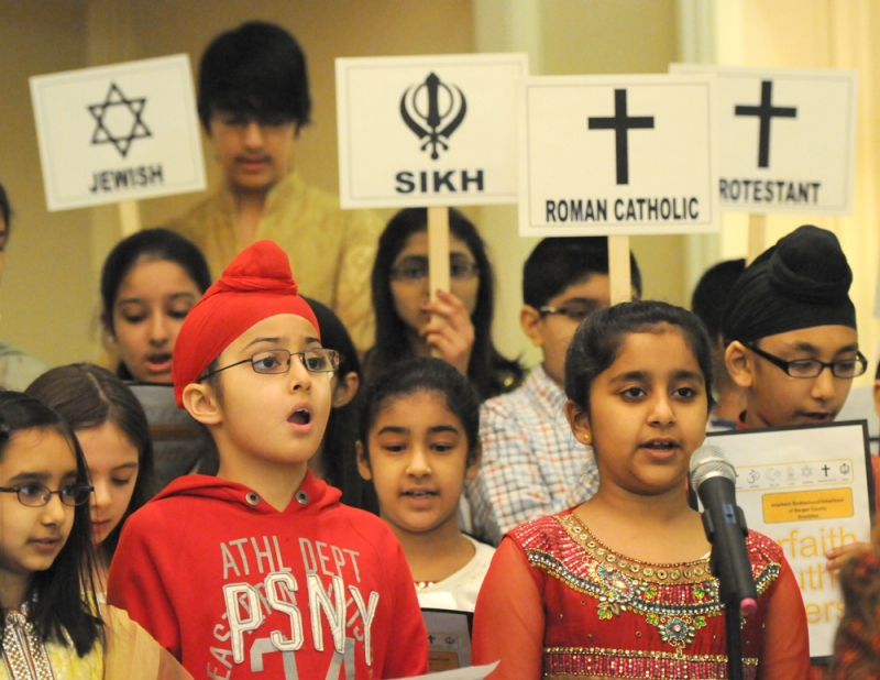 The Interfaith Youth Choir singing on Monday.  (Credit: Elizabeth Lara/ NorthJersey.com)