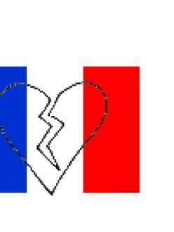 France flag and broken heart.