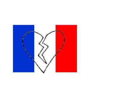 France flag and broken heart.