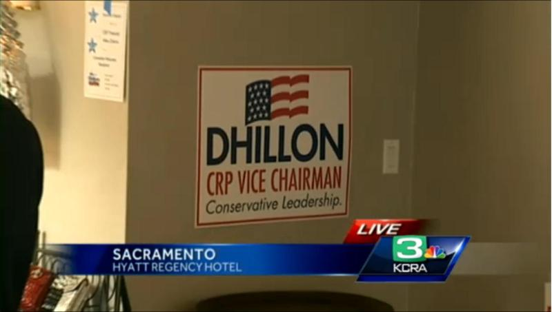 Harmeet Kaur Dhillon campaign sign at the California Republican Party convention this past weekend. (source: KCRA)