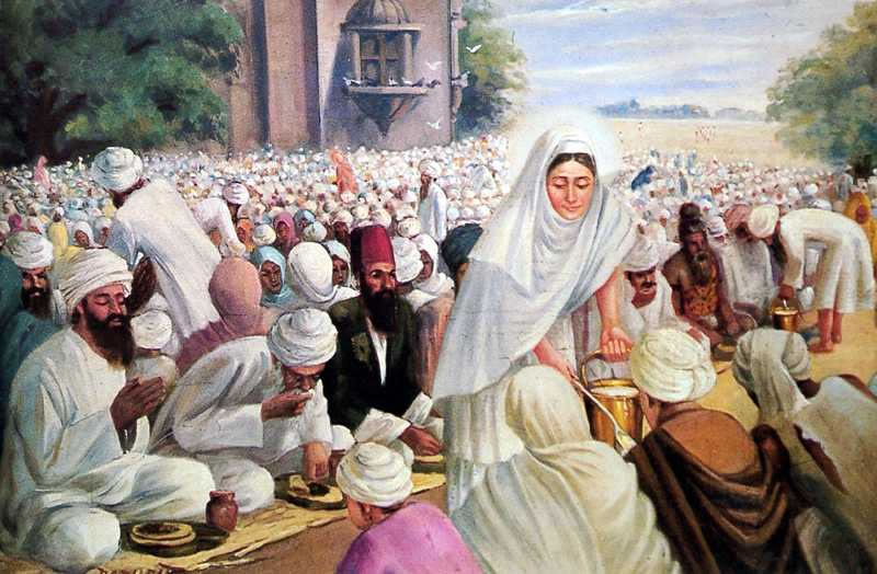 Painting of Mata Khivi serving langar (source: sikhcd.com)