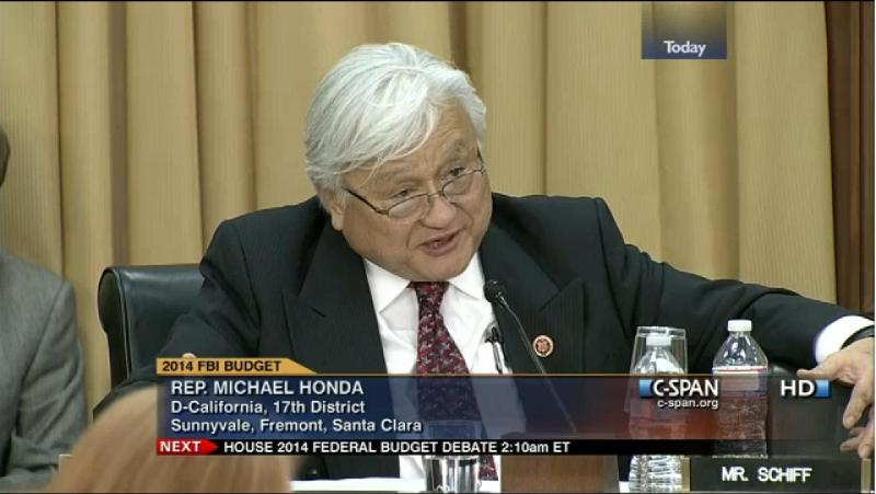 California Rep. Mike Honda Questions FBI Director on the need for additional categories in the FBI's Hate Crime Statistics Act data collection mandate on March 19, 2013. (source: C-SPAN, via SALDEF)