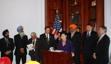 Rep. Judy Chu speaks at the launch of the American Sikh Congressional Caucus. (source: Judy Chu Facebook page)
