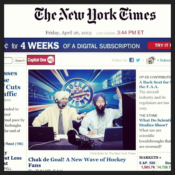 The New York Times featured a story about Punjabi Sikh hockey announcers in Canada. (source: Simran Kaur)