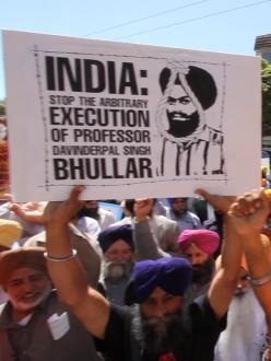"A protestor holds up a sign during a ""Free Bhullar"" rally in San Francisco, CA, April 18, 2013. (source: Sikh Roots)"