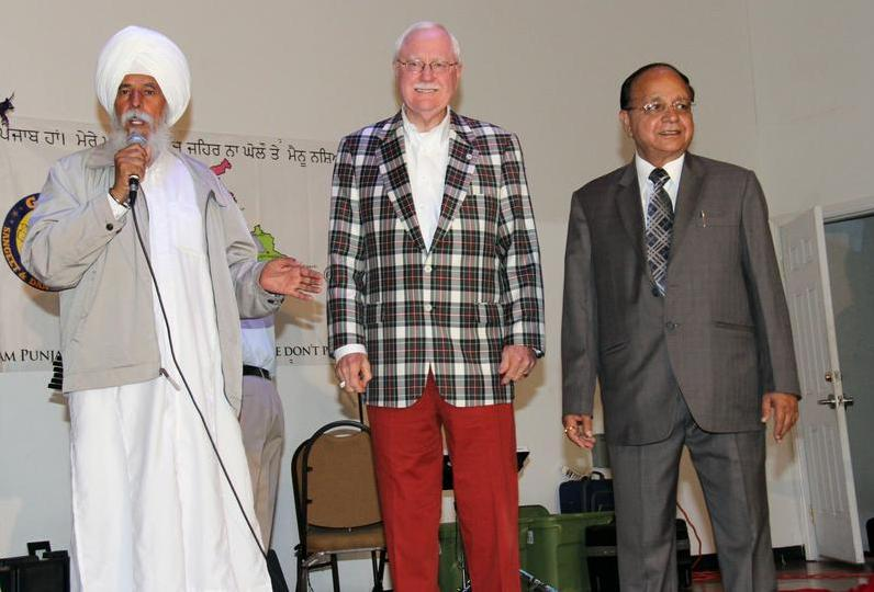 """Nazar Kooner addresses the gathering at the Sikh temple on South P Street with Bakersfield Mayor Harvey Hall and sister-city Mayor Bakshi Ram Arora of Amritsar to his left earlier this month in Bakersfield."" (source: Bakersfield Californian)"