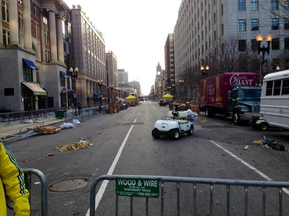 "Site of the Boston Marathon explosions: ""The view down Boylston Street."" (source: @PeterHambyCNN)"