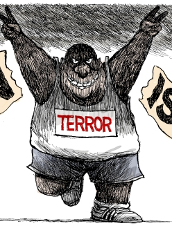 Boston bombing editorial cartoon. (source: Denver Post)