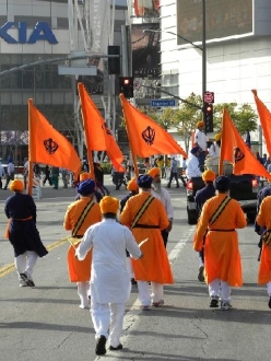 The Panj Pyare, or Five Beloved Ones, lead the Nagar Kirtan in Los Angeles, California on April 7, 2013. (source: SikhNet)