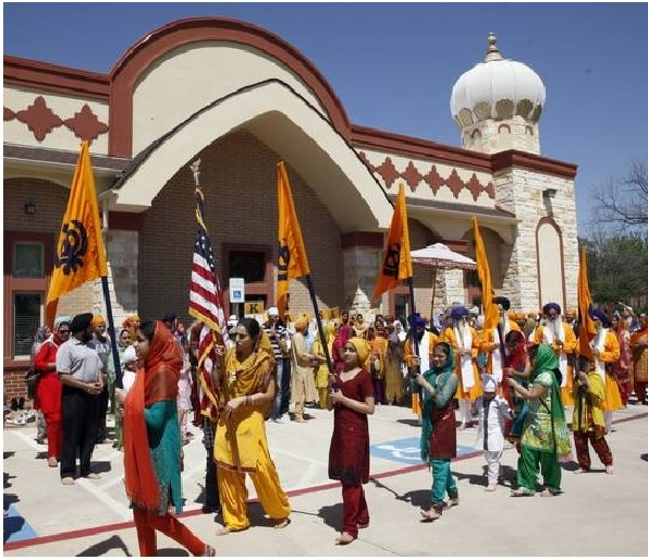"""A view of the Nagar Kirtan (Khalsa Parade) at the Inauguration of Gurdwara Nishkam Seva, Irving, Texas, April 13, 2013."" (source: SikhNet)"