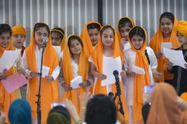 """""""On Sunday, April 14, 2013, at Sikh Sabha of New Jersey, located in Lawrenceville, New Jersey, children recite a poem during the celebration of Vaisakhi"""" (source: Michael Mancuso / The Times of Trenton)"""