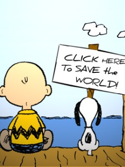 "Cartoon: ""Click here to save the world"" (source: Gwangju Blog)"