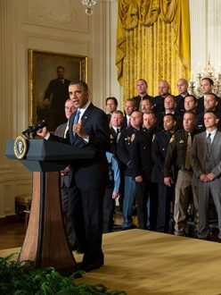 President Barack Obama honors the 2013 National Association of Police Organizations TOP COPS award winners during a ceremony in the East Room of the White House, Saturday, May 11, 2013. (Official White House Photo by Pete Souza)