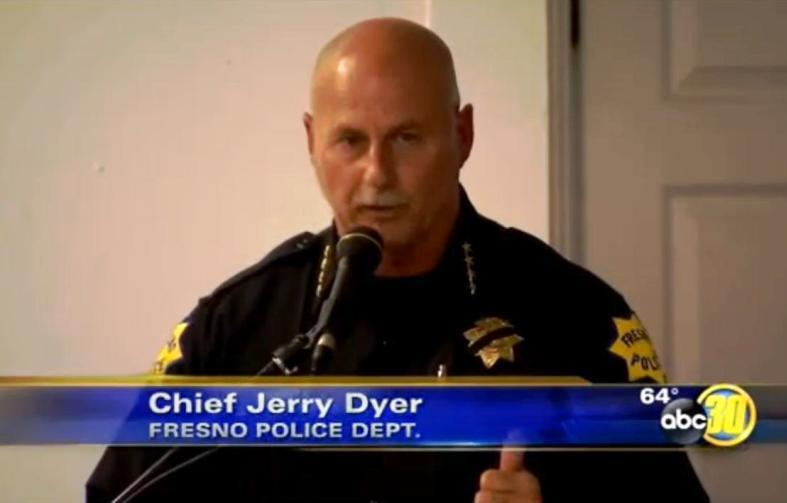 Fresno Police Chief Jerry Dyer addresses members of the community during last night's meeting. (source: ABC30)
